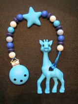 Beisskette Giraffe hellblau