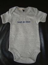 "Body bedruckt ""bout de chou"" grau-blau 3-6 Monate"