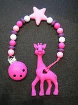 Beisskette Giraffe pink