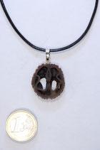 black walnut pendant | Schawarznuß Anhänger mit Lederband #05