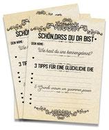 Hochzeitsspiel Postkarten mit Fragen 52 Karten