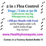 2in1 Flea Control & Killer 6 month Supply of Lufenuron and Nitenpyram for Dogs / Cats 2-30lb