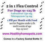 2in1 Flea Control & Killer 12 month Supply of Lufenuron and Nitenpyram for Dogs 91-125 lb