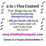 2in1 Flea Control & Killer 3 month Supply of Lufenuron and Nitenpyram for Dogs 60-91 lb