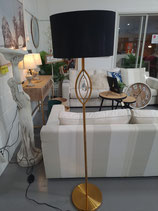 BRAND NEW Brass Metal Faux Crystal Floor Lamp with Black Shade