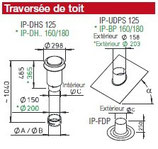Sortie pour toit incliné 40°/50° - IP-BP 180/45 - Isopipe Helios