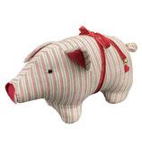 Schweinchen Türstopper grau/rotgestreift