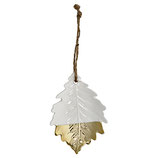Ornament Ceramic Leaf Acorn white/gold