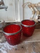 Windlicht Glas rot mit Silberrand