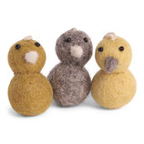 Round mini Chickens yellow 3er Set