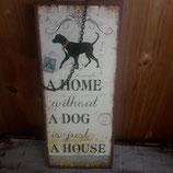 Metallschild mit Kette, Hund