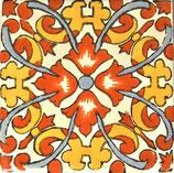 "Mexikanische Fliese ""Flor de Fuego 2"" (10x10) #1022"