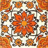"Mexikanische Fliese ""Flor de Fuego 1"" (10x10) #1021"