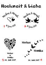 Milchkanne mit Sujet Hochzeit und Liebe