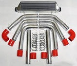 "Universal Ladeluftkühler Set 2,5""(64mm) 522mm x 178mm x 57mm Silber/Rot"