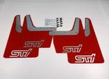 Subaru Impreza Classic GT WRX STI 1993-2016 Schmutzfänger Spritzschutz Rally Flaps Red Silver STI