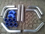 "Universal Ladeluftkühler LLK 3"" Einbauset 76MM Blau Piping"
