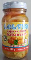 Rajas de Chiles Habaneros Lol-Tun con 110 gr.