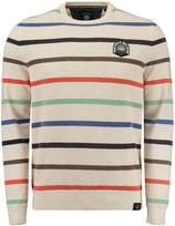 Sweater gebroken wit met colorstripes