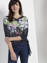 T-shirt bloemenprint in materiaalmix