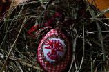gesticktes Osterei Lebensbaum weiß/rot