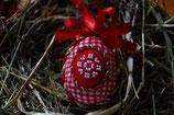 gesticktes Osterei Kreis rot/weiß