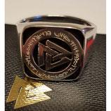 Paket: 1 x UNISEX SIEGELRING - TRI & 1 x ADON Amulett SILBERNES AQUA EMAIL