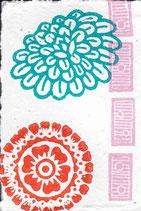 403 Blumen - pink neon Domino - Postkarte aus Saatgutpapier