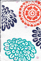 503 Blumen - rosa metallic Punkte - Postkarte aus Saatgutpapier