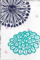 402 Blumen - pink neon Punkte - Postkarte aus Saatgutpapier