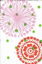 703 Blumen - grüne Punkte - Postkarte aus Saatgutpapier