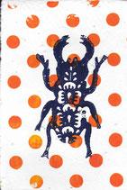 203 Käfer - orange Punkte - Postkarte aus Saatgutpapier
