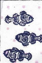 512 Fisch - rosa metallic Punkte - Postkarte aus Saatgutpapier