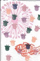 901 Blumen und Fische - Postkarte aus Saatgutpapier