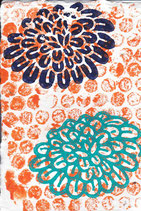 223 Blumen - orange Punkte - Postkarte aus Saatgutpapier