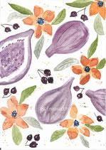 5er Set - Postkarten Früchte - Aquarell