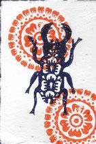 202 Käfer - orange Blumen - Postkarte aus Saatgutpapier