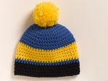 Strickmütze Blau-Gelb