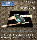 Czech Crystal On 925 Sterling Silver Bracelete