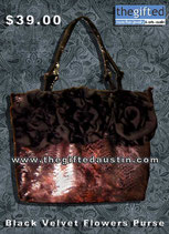 Black Velvet Flowers Purse