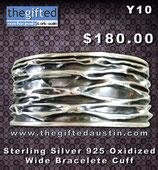 Sterling Silver 925 Oxidized Wide Bracelete Cuff