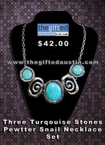 Three Turqouise Stones Pewtter Snail Necklace Set