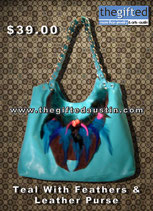 Teal With feathers & Leather Purse