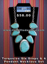 Turquoise 6 Drops & A Pendant Necklace Set