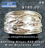 Sterling Silver 925 Clear Wide Bracelete Cuff