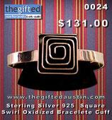 Sterling Silver 925 Square Swirl Oxidized Bracelete Cuff