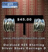 Oxidized 925 Sterling Silver Studs Earrings D