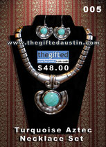 Turquoise Aztec Necklace Set 005