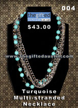 Turquoise Multi Stranded Necklace 004