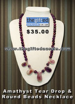 Amathyst Tear Drop & Round Beads Necklace